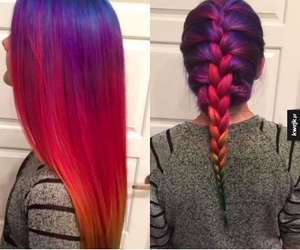 hair, red, and blue image