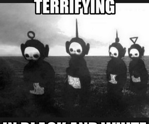 teletubbies, scary, and black and white image