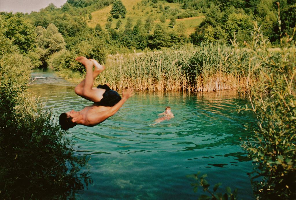 jump, lake, and nature image