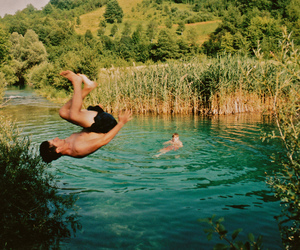 jump, lake, and nature image