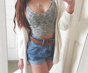 girl, oversize sweater, and girly image