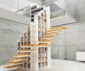 book, stairs, and library image