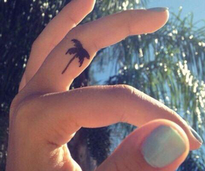 tattoo, palm trees, and fingers image