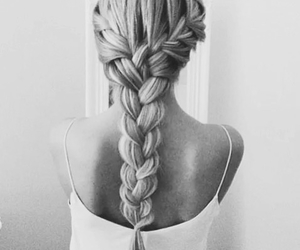 black and white, braided, and hair image