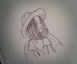 drawing, hat, and girl image