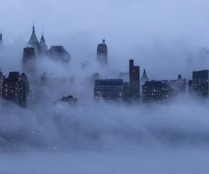 city, fog, and night image