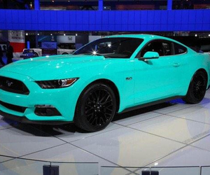 car, mustang, and blue image