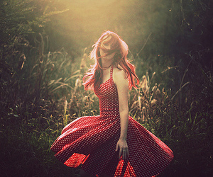 girl, red, and dress image