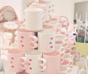 cute cups and pink&white image