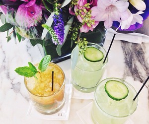 drink, flowers, and summer image
