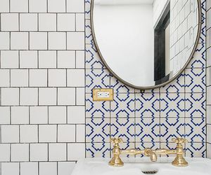 bathroom, pattern, and shower image
