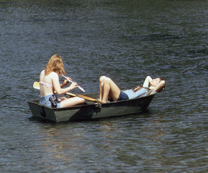 girl, friends, and boat image