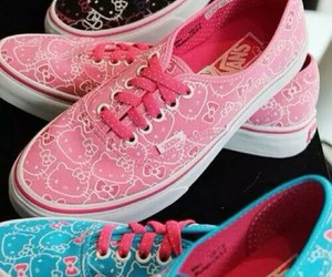 hello kitty, vans, and blue image