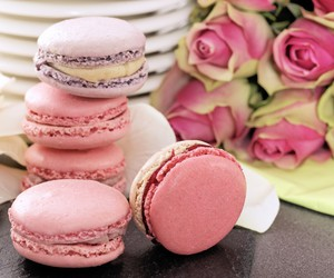 pink, sweet, and macarons image