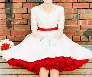 bride, red, and wedding dress image