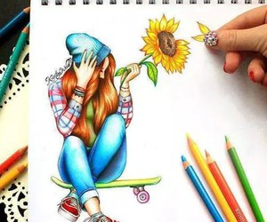 draw, hair, and flower image