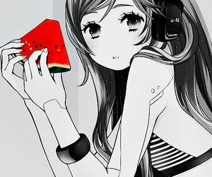 anime girl, cute, and watermelon image