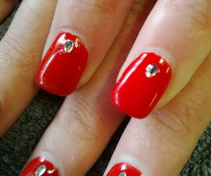 nail art, gel, and red image