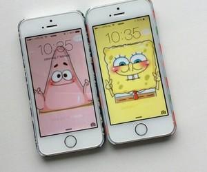 iphone, patrick, and spongebob image