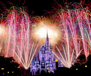 fireworks, castle, and disney image
