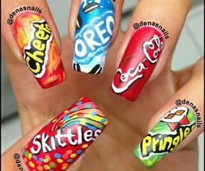 nails, oreo, and skittles image