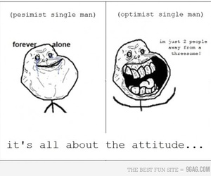 forever alone, funny, and pesimist image