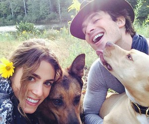 ian somerhalder, nikki reed, and dog image