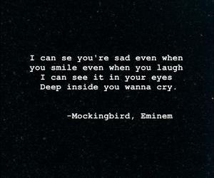 eminem, mockingbird, and sad image