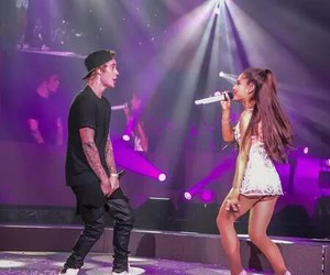 ariana grande, justin bieber, and honeymoon tour image