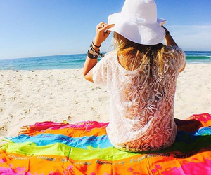 beach, colorful, and girl image