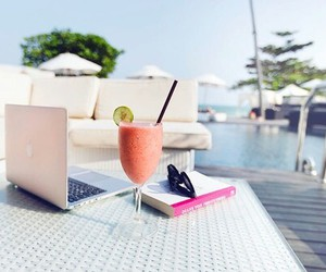 summer, drink, and book image