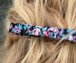 hair, blonde, and floral image