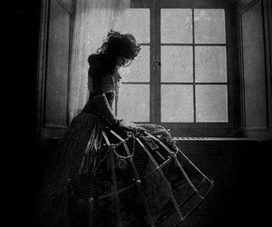 dress, window, and dark image