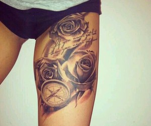 tattoo, rose, and compass image