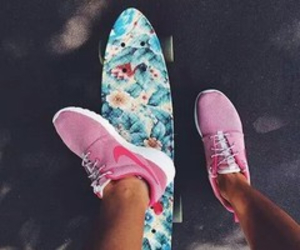 flowers, nike, and skate image
