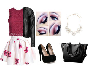burgundy, makeup, and outfit image