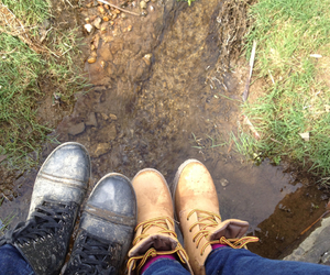 best friends, boots, and grass image