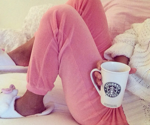 pink, starbucks, and bed image