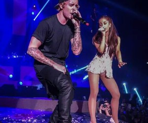 ariana grande, justin bieber, and concert image