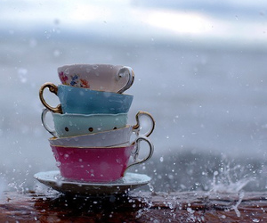 rain, cup, and teacup image