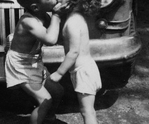 adorable, black and white, and kiss image