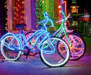 bike, lights, and night image