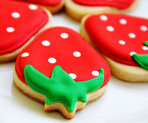 strawberry, Cookies, and food image