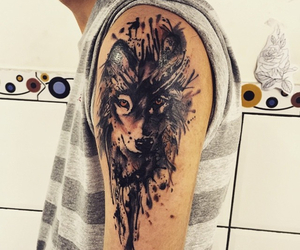 tattoo, watercolor, and wolf image
