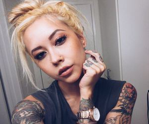 blonde, girl, and tattoo image