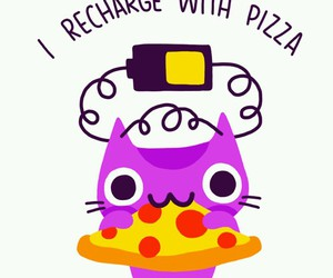 pizza, cat, and recharge image