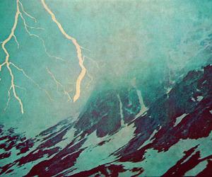 landscape, lightning, and mountain image