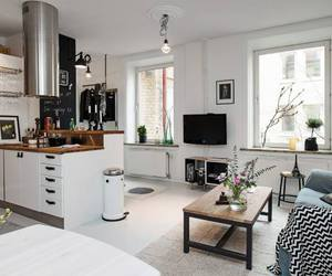 black and white, kitchen, and Scandinavian image