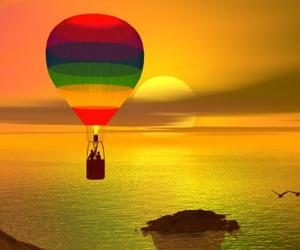 beautiful, balloon, and bird image