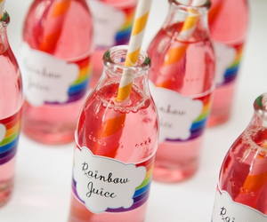 rainbow, juice, and drink image